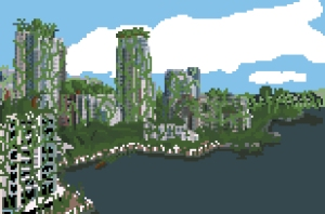 Vancouver Skyline re-imagined as overgrown ruins.  2010