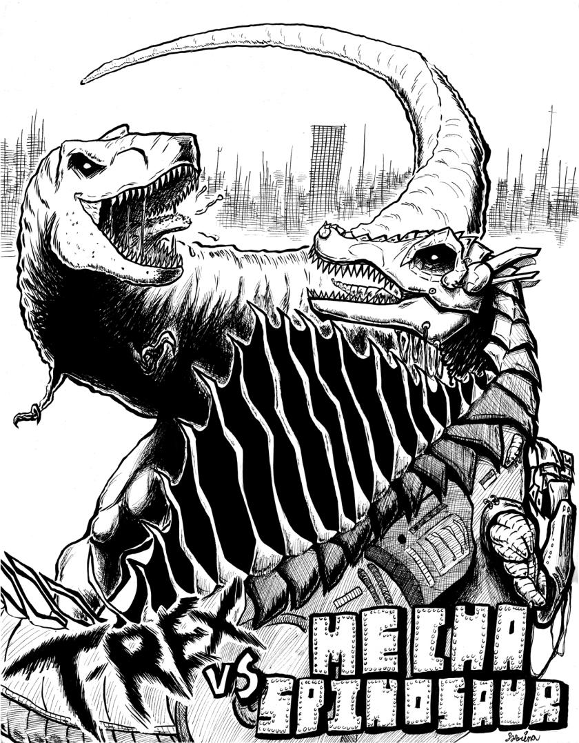The ageless battle of good vs. evil... or dinosaur vs. robot dinosaur.
